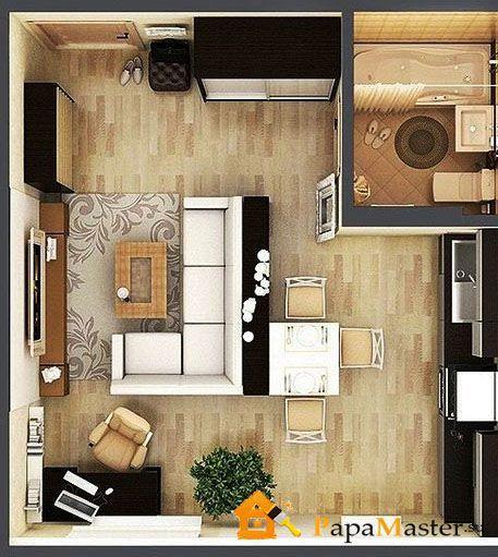дизайн однокомнатной студии квартиры фото