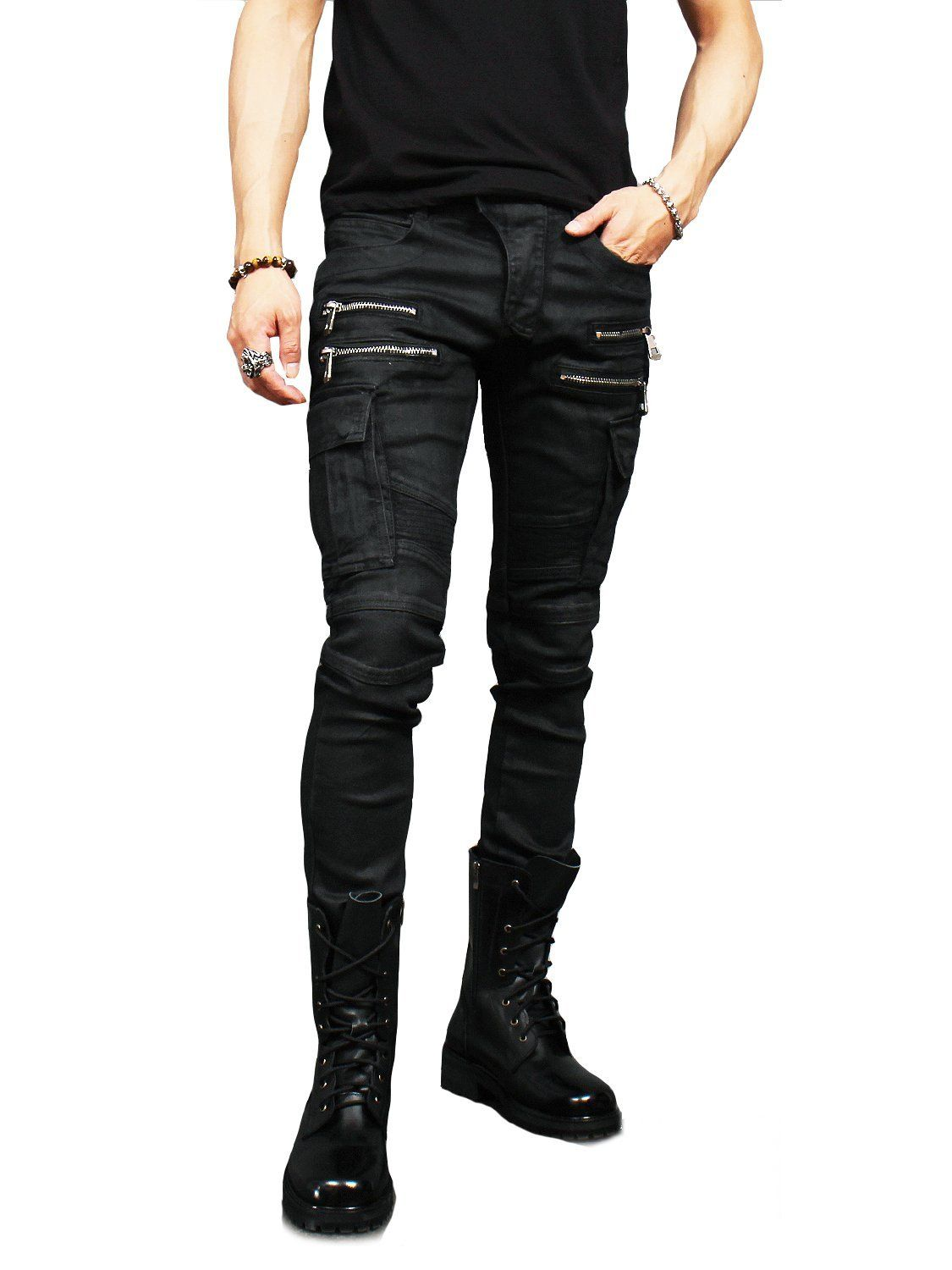 dccfc73865e1f Gentler Men's Fashion Black Wax Coated Zipper Cargo Pocket Bikers ...