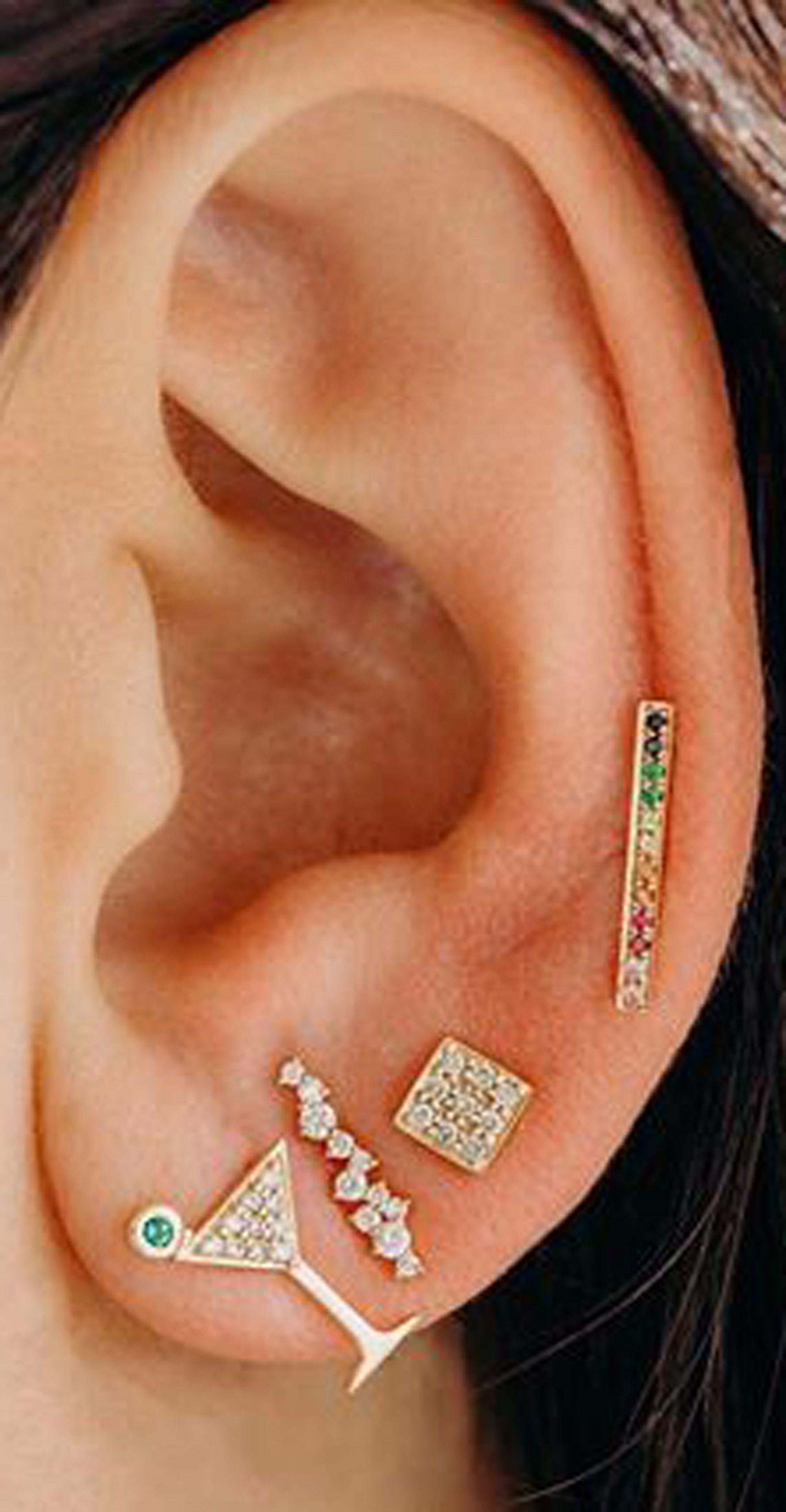 Piercing ideas for girls  Cupcake Rainbow Studs u Colorful Crystals Straight Ear Climber