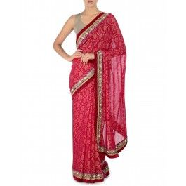 Lipstick Red Embellished Sari