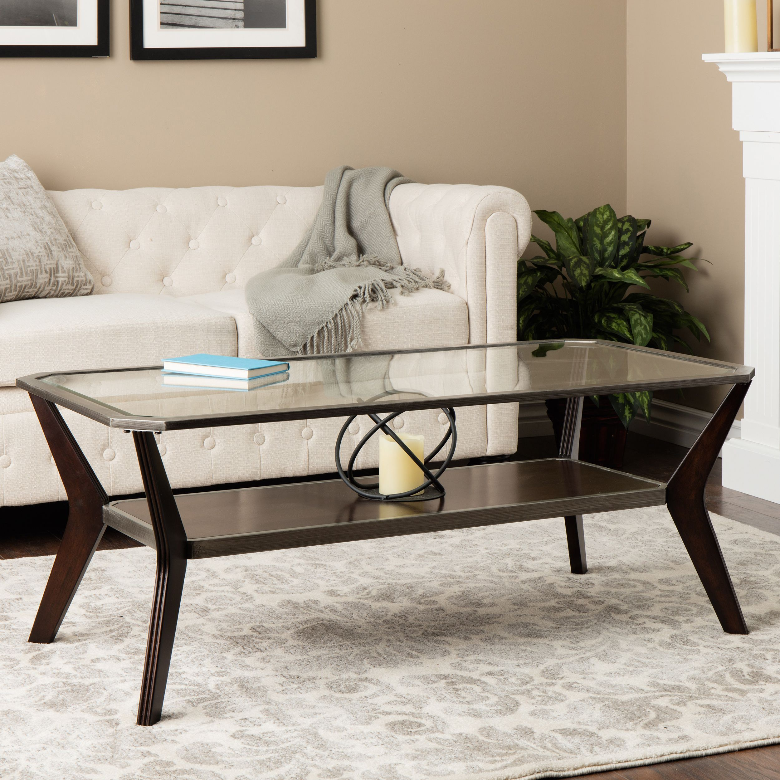 The Boomerang Coffee Table Features A Stylish Metal And Wood Construction  With A Clear Glass Top. This Coffee Table Also Highlights A Rich Espresso  Stain ...