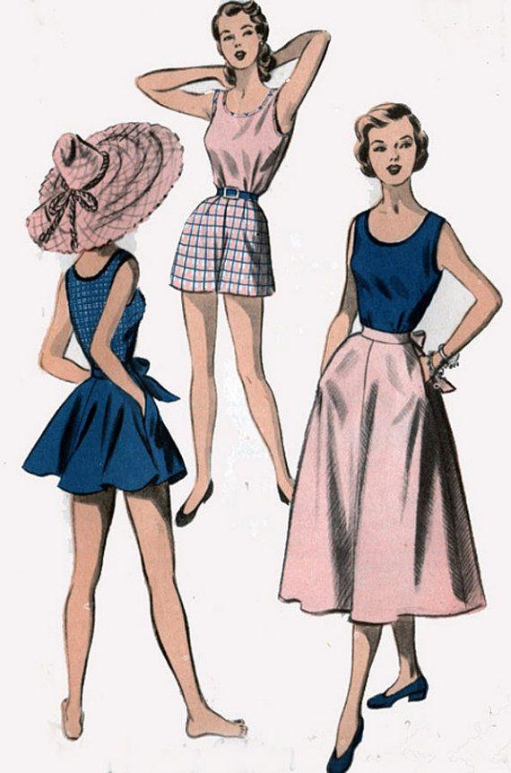 Vintage 1950s PLAYSUIT Shorts, Skirt, Sleeveless Blouse Sewing ...