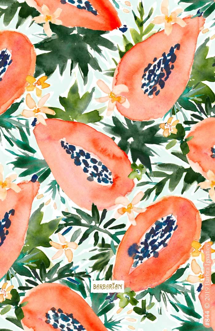PAPAYA PERFECTION Tropical Fruit – BARBARIAN by Barbra Ignatiev | Bold colorful art
