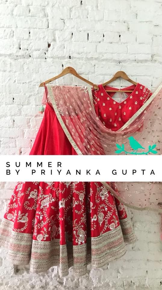 Gorgeous red color lehenga and blouse with net dupatta floral design hand embroidery classy work september also rh pinterest