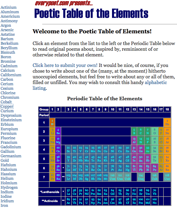Poetic table of the elements elemental tables pinterest poetic table of the elements periodic urtaz Image collections