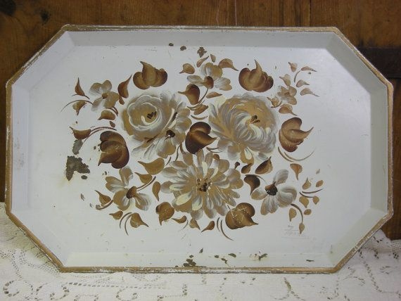 Tole Painted Serving Tray 1950 S 1960s Shabby Chic Gold On