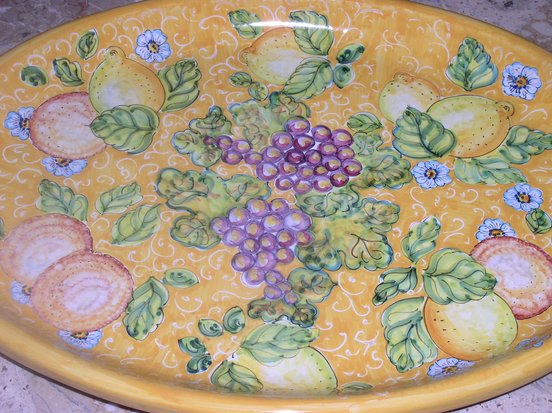 Large oval platter cm 48x36 - Assorted Fruit with yellow background