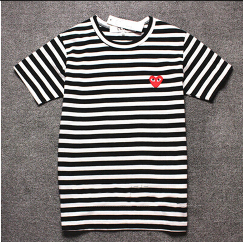 40a4419d9b97 Men Comme Des Garcons CDG Play Striped Red Heart SHORT Sleeve Women T-shirts  USA