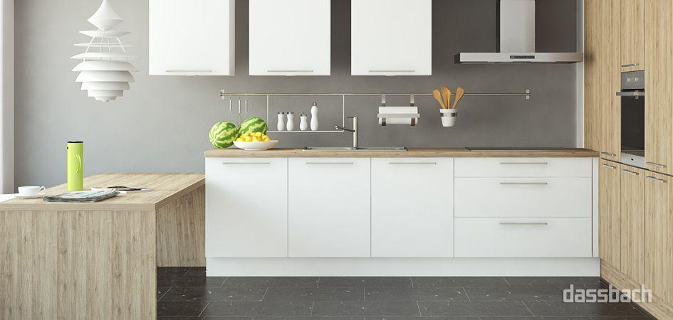 L-Küche mit integriertem Esstisch   Küche   Pinterest   Hochschrank ...