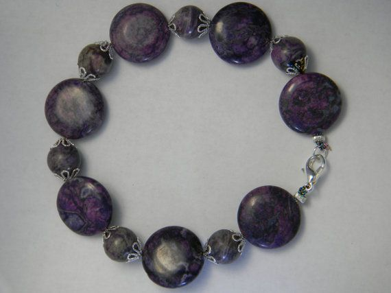 Purple Stone Bracelet by NonSequiturShoppe on Etsy, $20.00