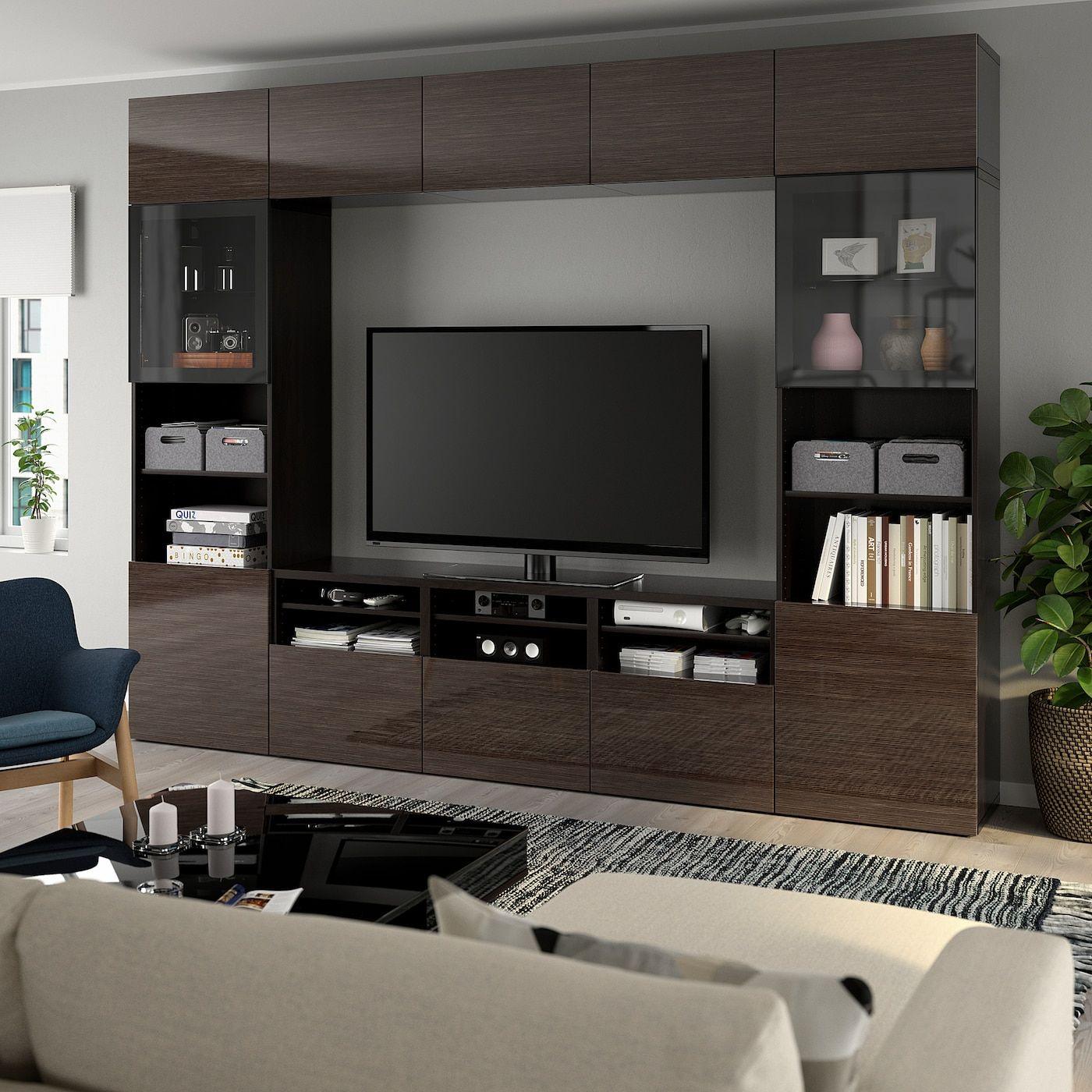 Ikea Besta Tv Storage Combination Glass Doors Black Brown