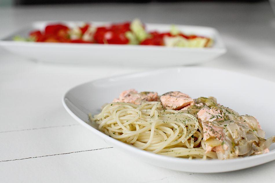 pasta met romige witlof en zalm