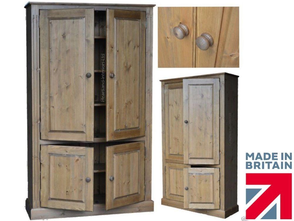 Solid Pine Storage Cabinet, 4 Door Pantry Linen Bathroom Kitchen Cupboard