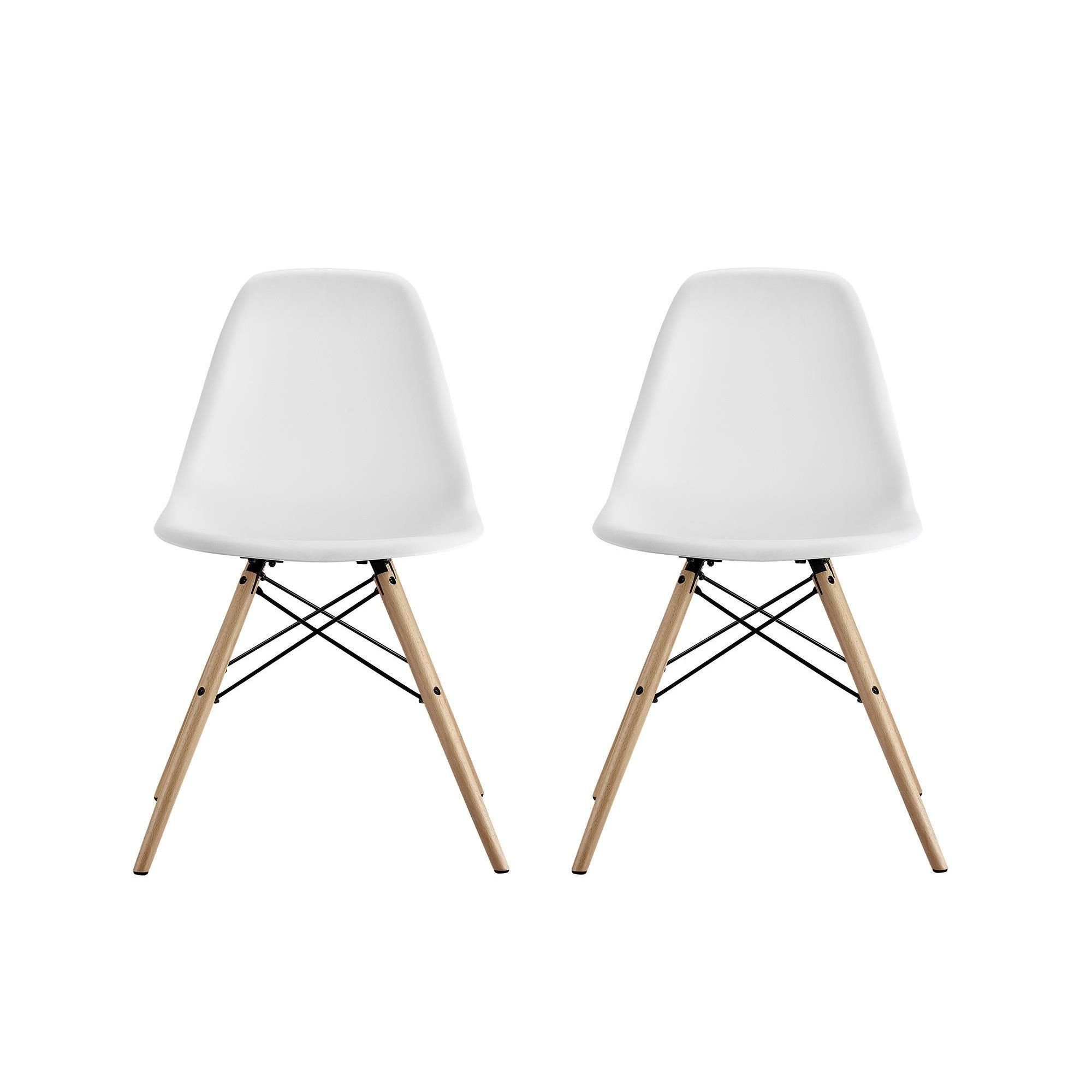 Dhp Mid Century Modern Molded White Chair With Wood Leg Set Of 2