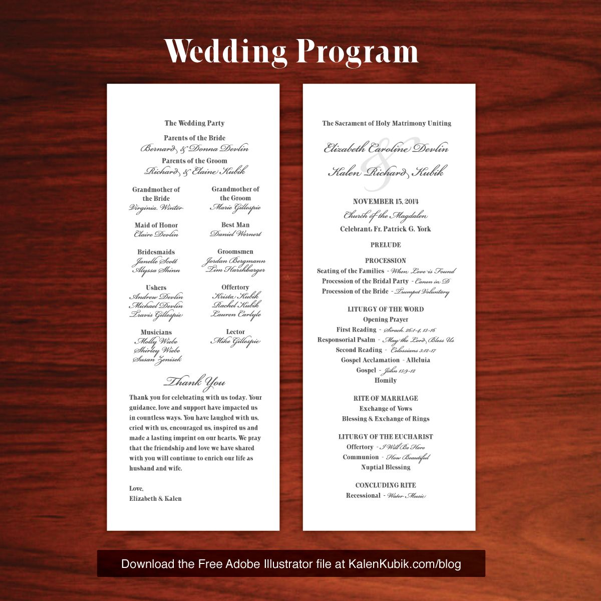 Wedding Brochure Ideas: Free DIY Catholic Wedding Program AI Template. I'm A