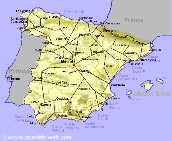 Regional Map Of Spain.Map Of Spain Showing Regional Rail Network Travel Map Of Spain