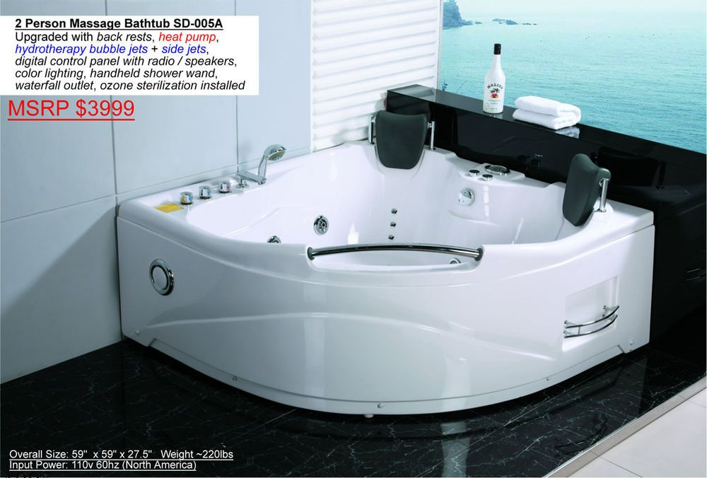 2 Person Indoor Hot Tub Jetted Bathtub Sauna Hydrotherapy Massage ...