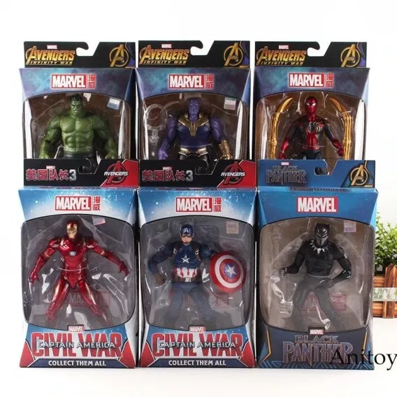 Action Figures 3 Black Panther Action Figures Hulk Captain America Iron Man