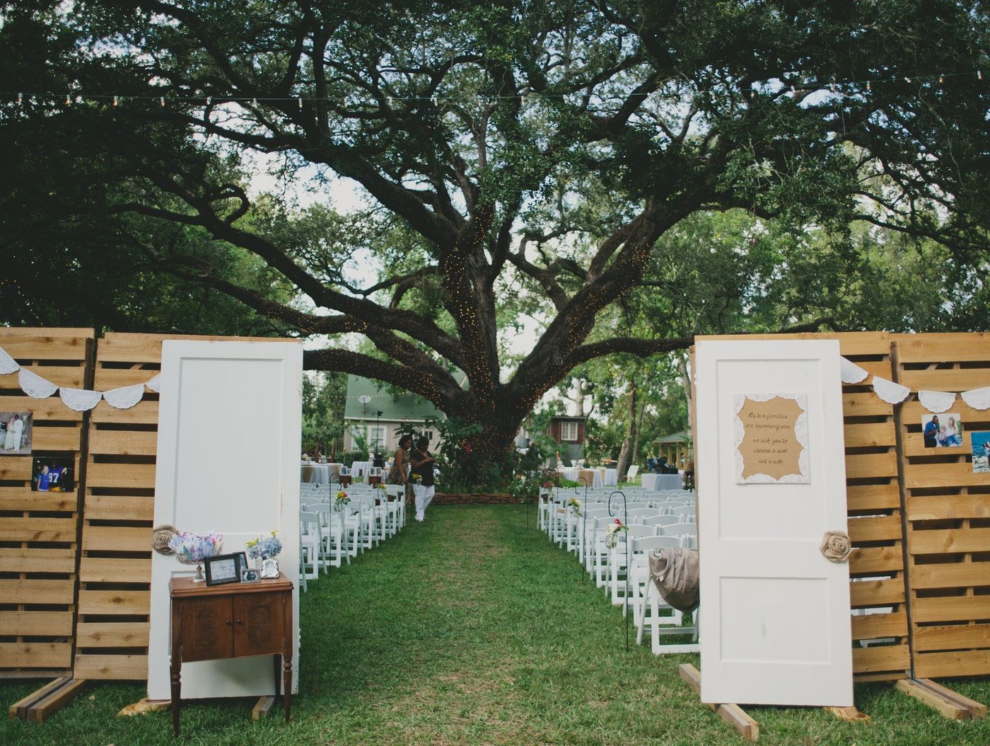 Entryway to our ceremony at Oak Tree Manor