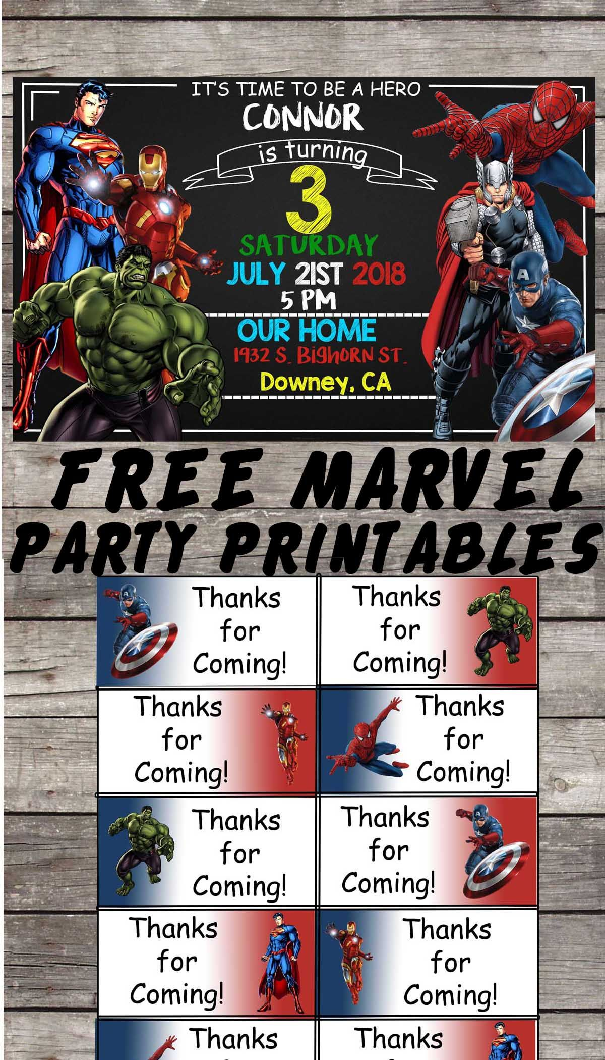 graphic relating to Free Superhero Party Printable called Ponder Avengers Birthday Get together Printable Information