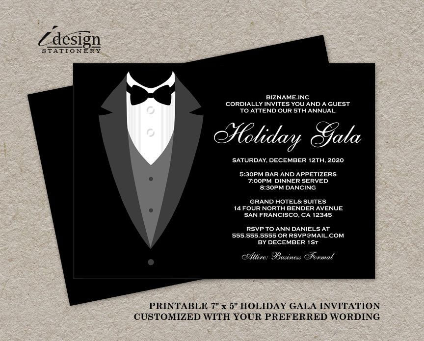 Holiday Gala Invitation DIY Printable Tuxedo Invitations - prom ticket template