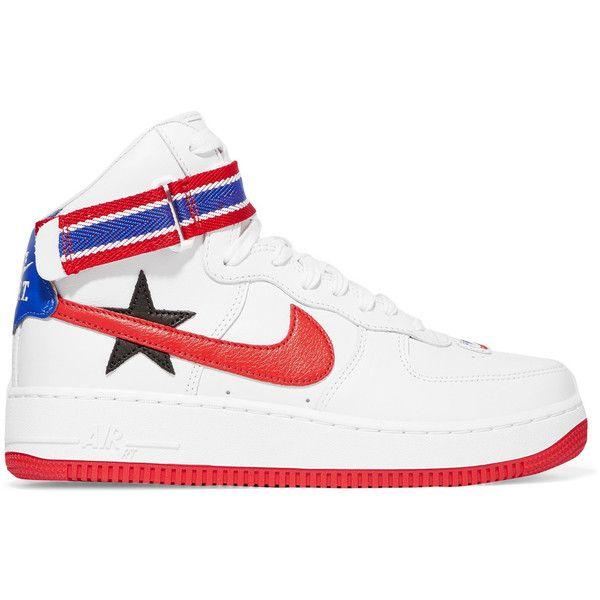 Nike + Riccardo Tisci Air Force 1 appliquéd-leather high-top sneakers ($215
