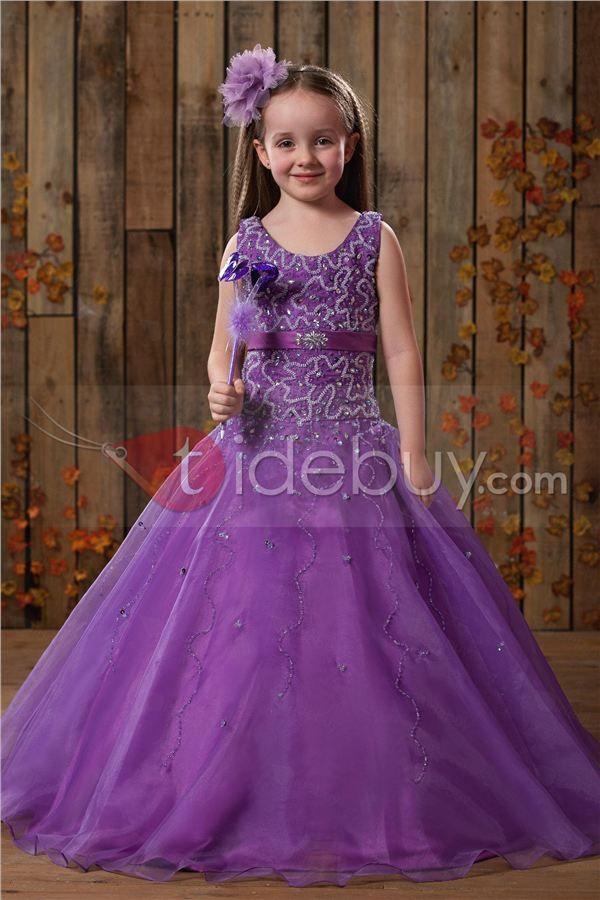 Hermoso Vestido de Damita Ball Gown con Escote Cuchara Largo al Piso ...