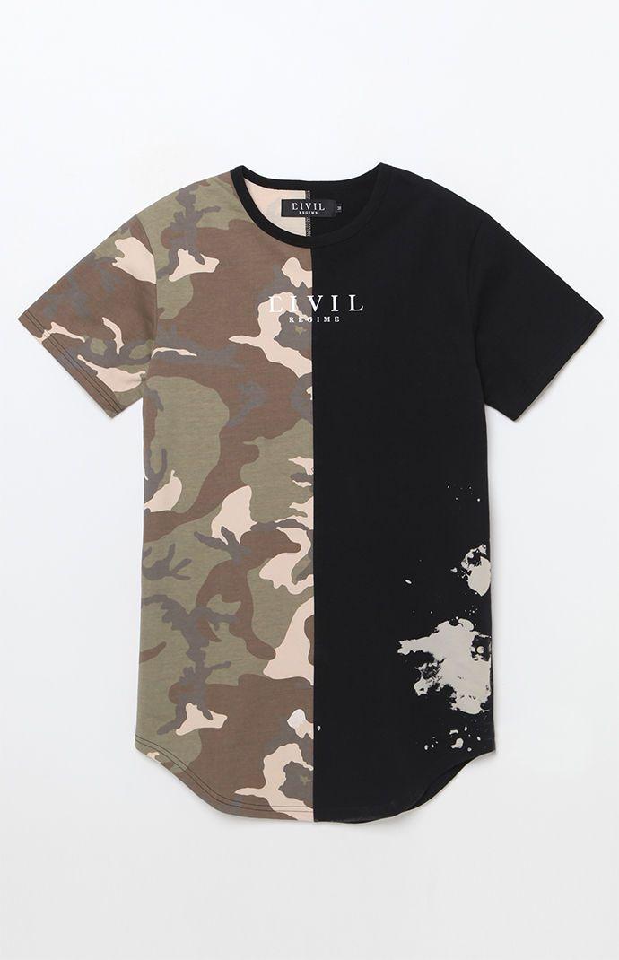 0c1ab736 Camo Split Drop T-Shirt | INSPIRATION | T shirt, Shirts, Bleach shirts