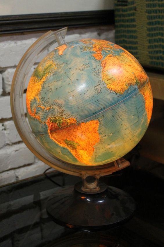 Vintage World Globe Lamp By Backinthedayomaha World Globe Lamp Globe Lamps World Globe
