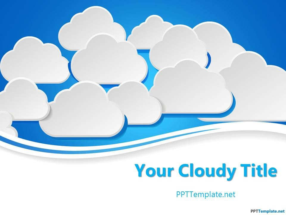 Free Clouds Ppt Template With Clouds In The Slide Design And Blue