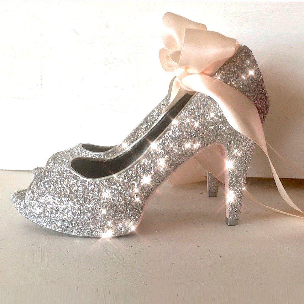 Women s Silver Glitter Peep Toe Heels with Light Pink Satin Ribbon  www.glittershoeco.com ef4e846e0
