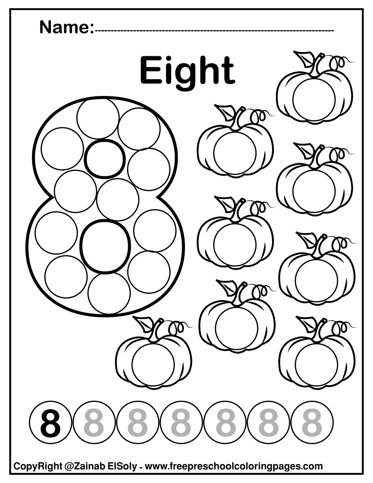 Number 8 Eight Do A Dot Marker Activity Activity Pumpkins