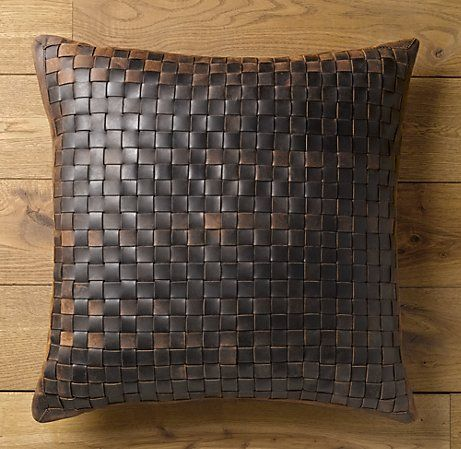 Basket Weave Leather Pillow Cover