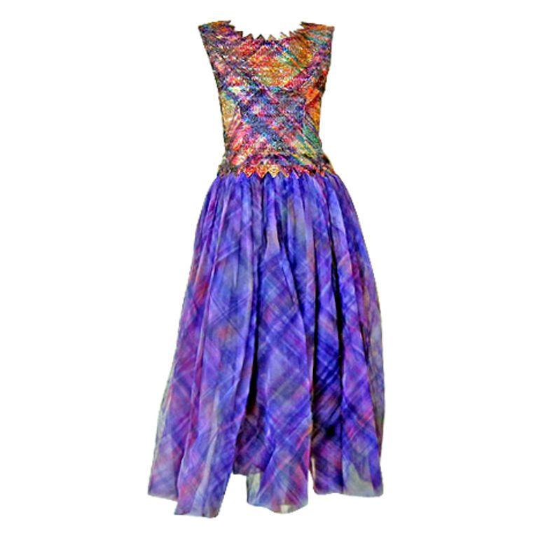 RARE COCO CHANEL 1960\'s HAUTE COUTURE BEADED SILK EVENING DRESS ...