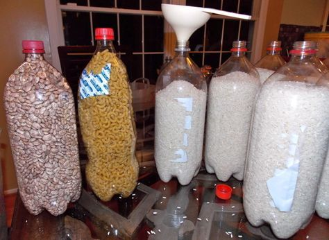 Store dried foods like rice, pasta, and beans in clean, empty soda bottles to keep them fresh for a very long time.