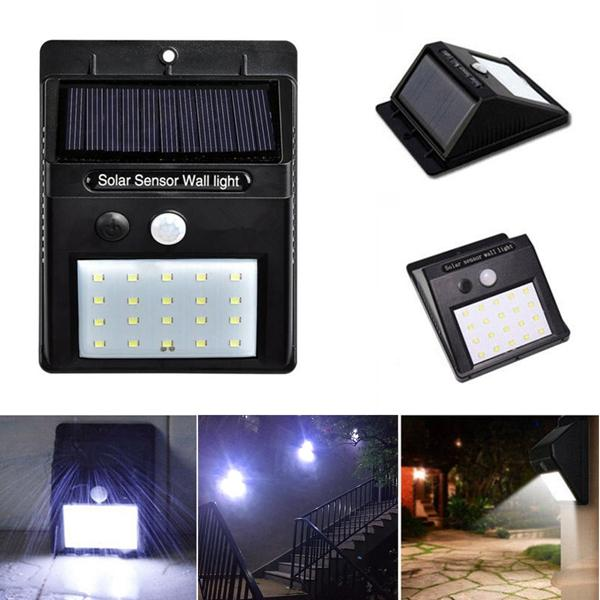 Solar Power 20 Led Pir Motion Sensor Waterproof Wall Light Outdoor