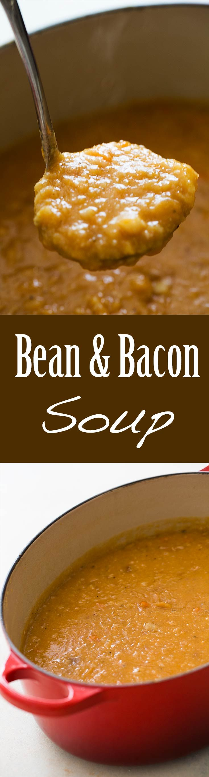 Is there anything better than bean and bacon soup? Best comfort soup ever! Bean and bacon soup with