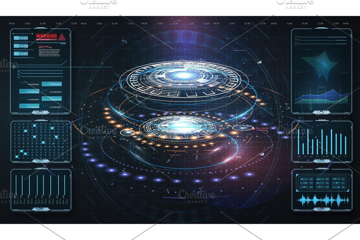 HUD,UI, GUI . Abstract virtual  Custom-Designed Illustrations