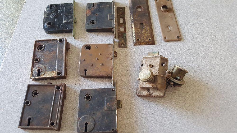 Lot Of Antique Mortise Door Locks Hardware Skeleton Key Parts