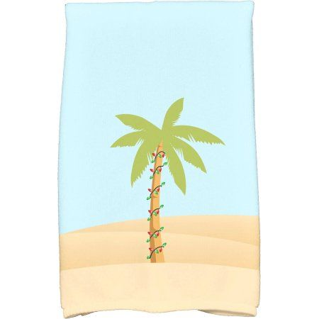 Simply Daisy 16 inch x 25 inch Palm Tree with Christmas Lights Holiday Geometric Print Kitchen Towel, Blue