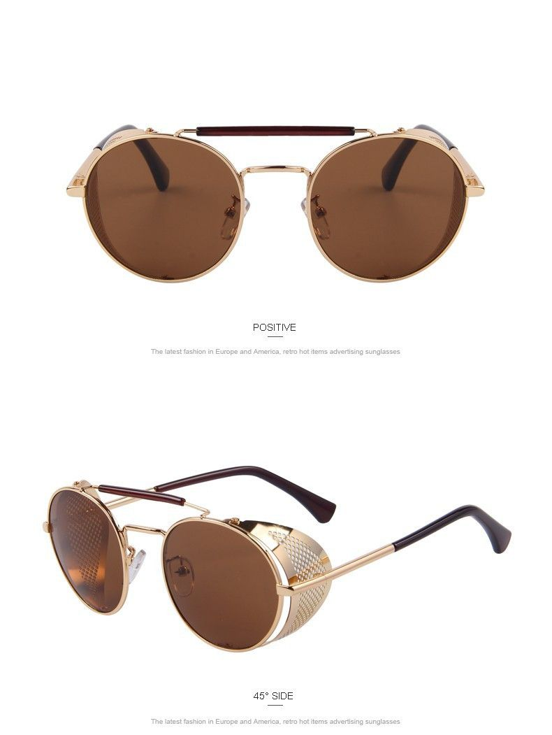Mens Gold Vintage Retro Steampunk Gothic Side Shield Hipster Round Sunglasses Us