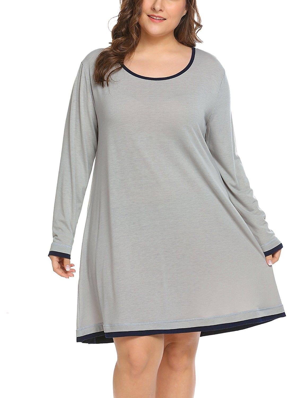5911937035 Women s Plus Size Sleepwear Long Sleeve Lounge Sleep Dress T Shirt ...