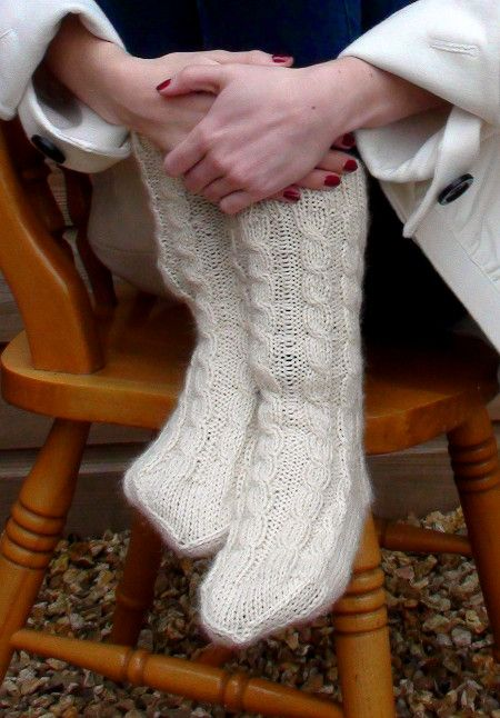 Ruth and Belinda - knitting pattern, clock socks, hand-knitted socks, alpaca silky yarn, warm cable socks