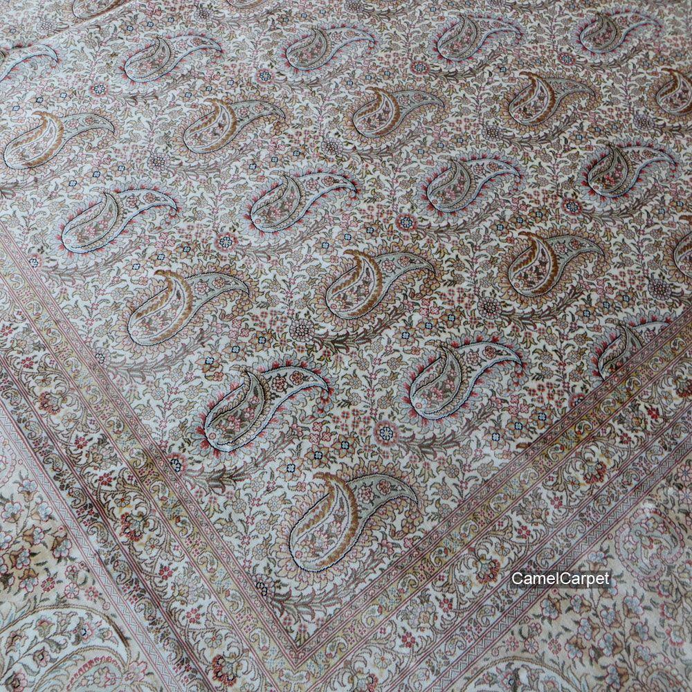 Paisley Design 300x400cm (10x13foot) Handmade Silk Carpet  harry@camelcarpet.com #silkcarpet #handmadecarpet #paisleycarpet #paisleydesigncarpet