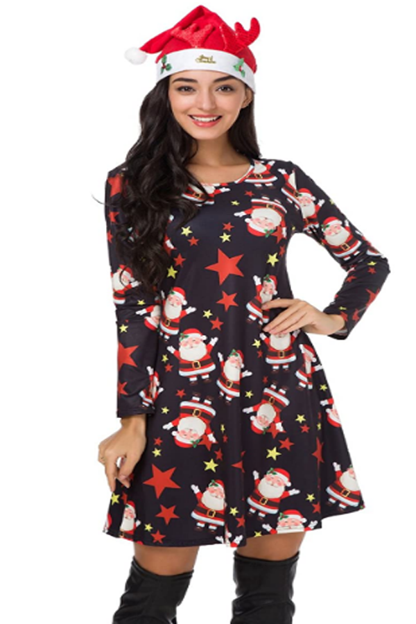 A Line Xmas Santa Midi Dress. Christmas print, long sleeve, above knee flared midi dress,so cute and funny.It will surely bring you a lot of compliments. christmas dress casual. #christmasdress #christmasoutfit #christmas #christmasclothes