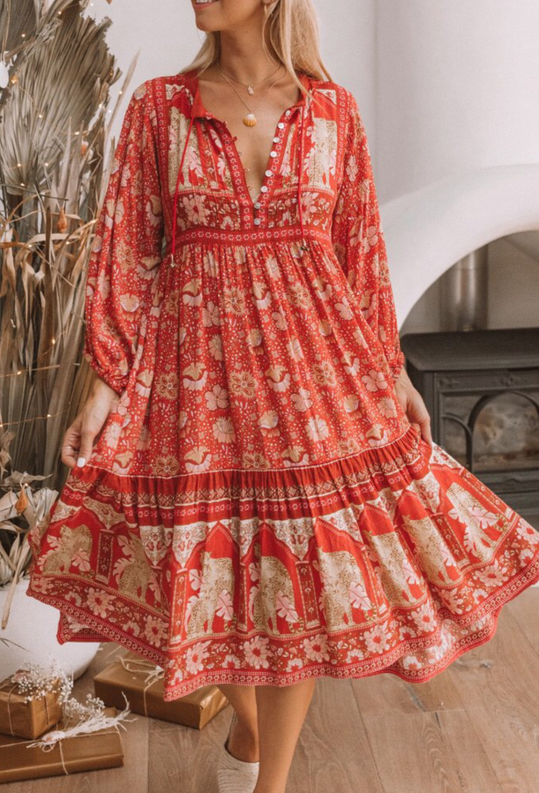 7fecaf30282 Spell and The Gypsy ❤️Wild thing POINCIANA gown CHERRY L ❤ BNWT sold out