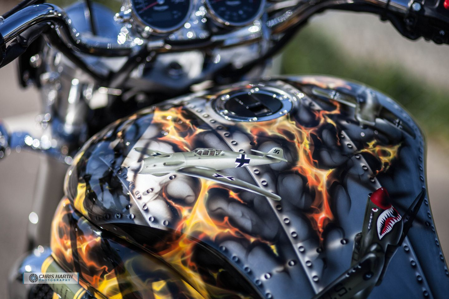 Bomber Themed Bike With Chrome Paint Airbrushed Rivets Planes And Flames