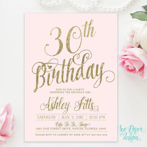 Ava Blush Pink Gold Glitter Adult Birthday Party Invitation 30th 21st 50th 60th
