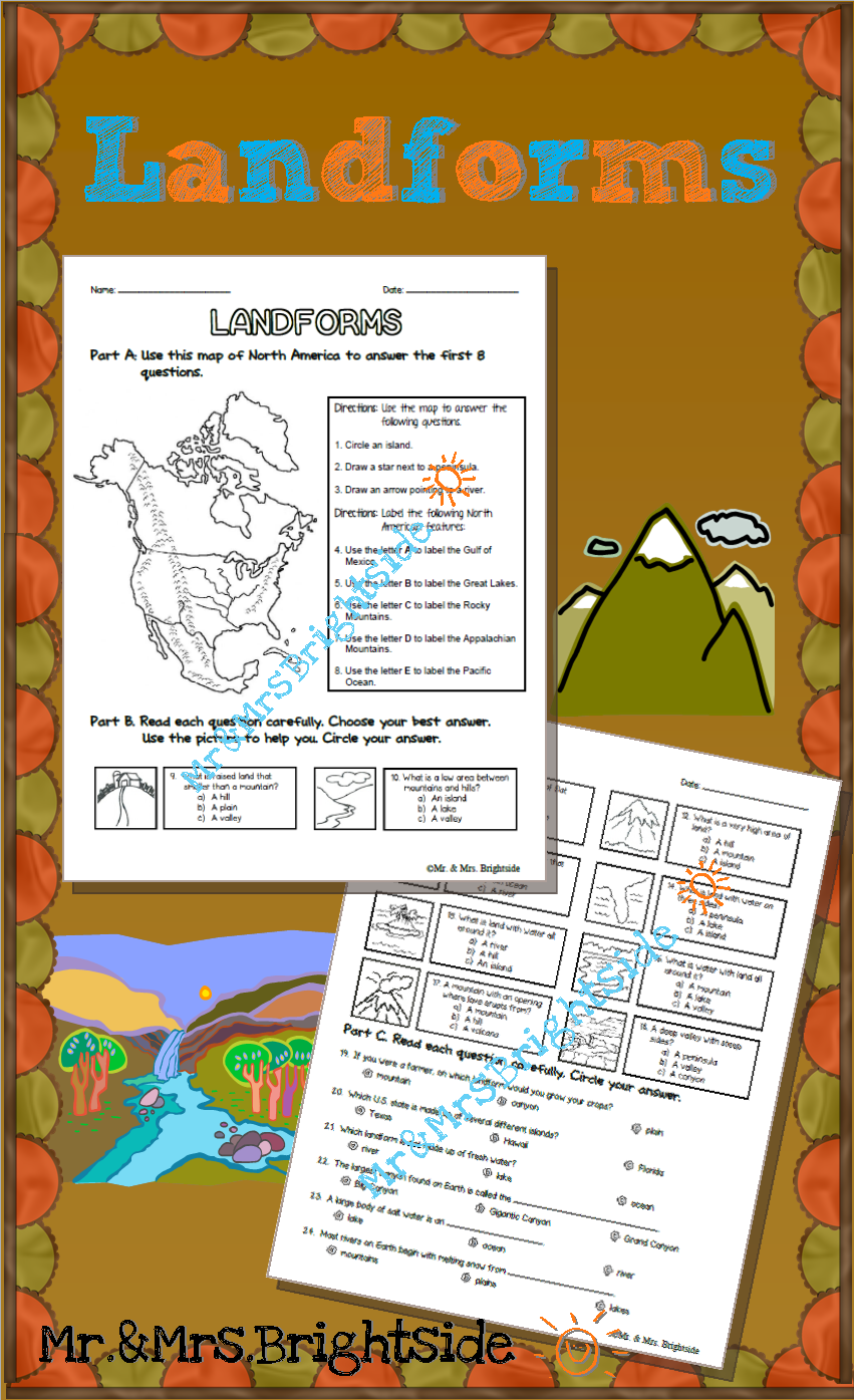 LANDFORMS - TeachersPayTeachers.com   Social studies maps [ 1395 x 851 Pixel ]