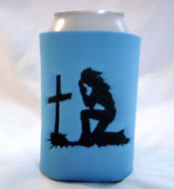 Embroidered Koozie, PRAYING COWGIRL, Silhouette Design, Can Koozie, Bottle  Koozies, Personalized